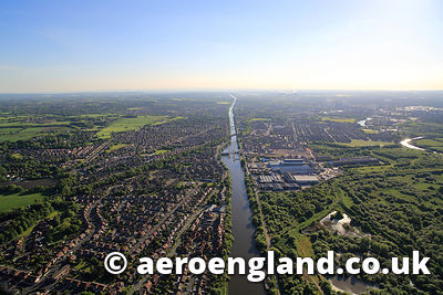aerial photograph of the Manchester Ship Canal at Warrington England UK