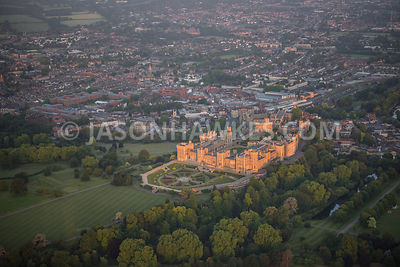 Aerial view of Windsor Castle and gardens,.