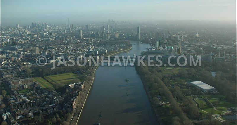 London Aerial footage, River Thames at Battersea Park.