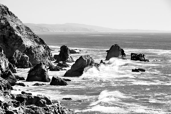 BODEGA BAY SONOMA COAST CALIFORNIA BLACK AND WHITE