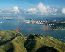 San Francisco with Marin Headlands and Golden Gate Bridge. California.