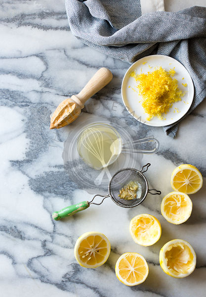 Lemons for cooking. Juiced, grated, de-pipped, with seive and juicer.