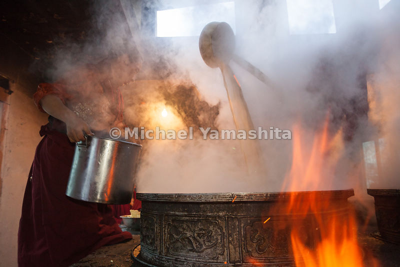 A steaming cauldron of the Tibetan staple yak butter tea will serve 800 monks at Shechen Monastery.  Tea, yaks and horses were the lifeblood of Tibet, and have been since the ancient Chamagudao (Tea Horse Road) was the main trading route known as the southern Silk Road.