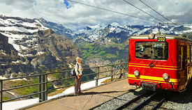 Alpine trainstation; Eigergletscher, Switzerland
