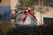 Large Christmas ornament decoration at Mockingbird Station in Dallas, TX