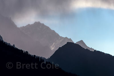 Rain clouds over the Himalayas in Autumn near Manali, India