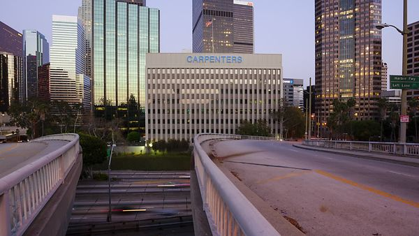 Close Up: Overpasses Over Highway 110, Downtown L.A. (Dolly Day to Night)
