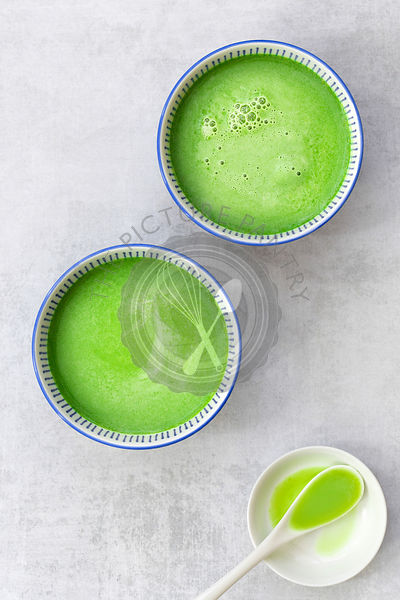 Matcha green tea in Japanese cups.