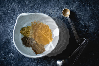 Ingredients for golden milk - Mixed turmeric, ginger, cardamom, and cinnamon