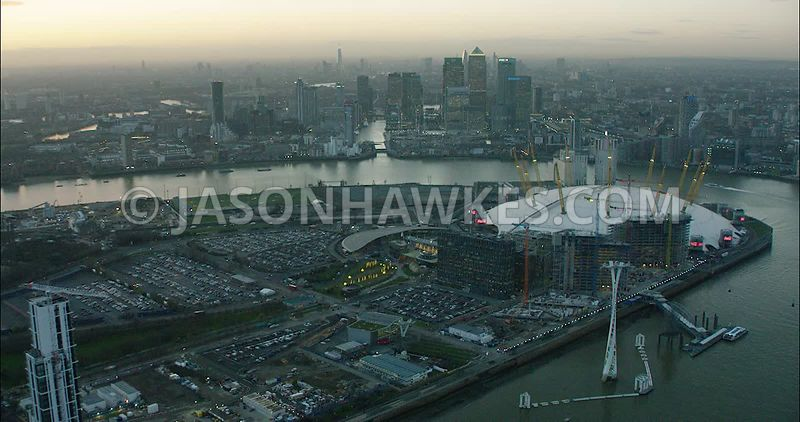 London Aerial Footage O2 Arena towards Canary Wharf.