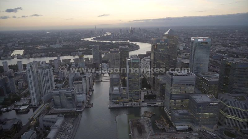 Aerial footage of all the skyscrapers in the financial district, Canary Wharf