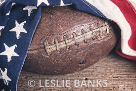 Vintage Football with American Flag