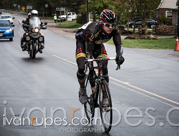 Andrew House is riding home for victory in the punishing conditions of this year's Lake of Bays Road Race