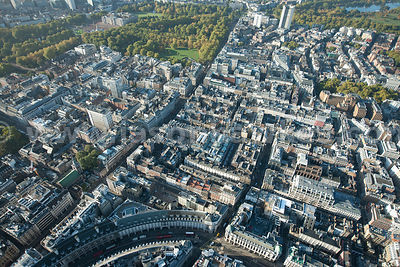 Aerial view over Piccadilly and Green Park, London