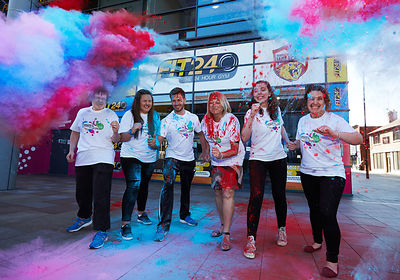 The first throw of colour powder paint for Wakefield Hospice Colour Run. The event is sponsored by Trinity Walk and its partners, Fit24, Wakefield Trinity Wildcats, Sainsbury's and Lush..
