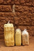 Water containers at home. Rwanda