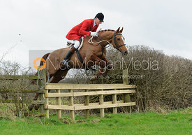 Joss Hanbury jumping a hunt jump on the Quenby Estate