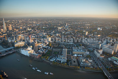 London. Aerial view of Lambeth and Southwark