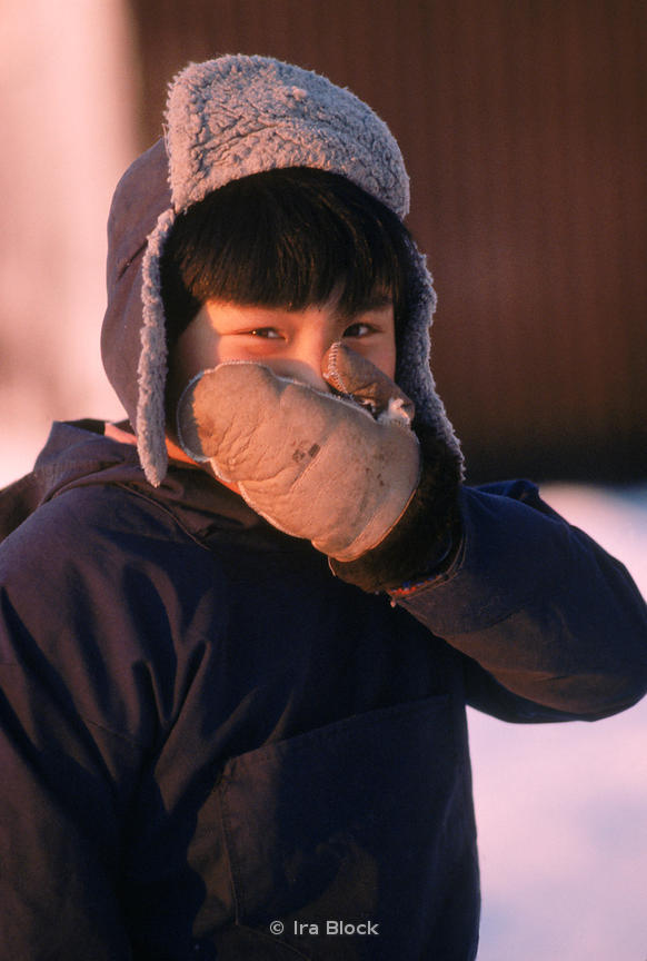 Portrait of a local child at an Eskimo village in Little Diomede, made up of some 150 people.