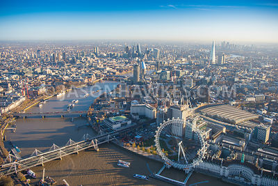 Aerial view of London, County Hall and Jubilee Gardens towards Southbank and Blackfriars with River Thames.