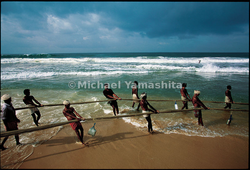 On the beach at Somatheeram, in Kerala, teamwork is required to pull in the huge nets filled with fish.