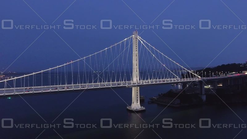 San Francisco Bay Bridge Dusk Wide Shot North Side Above Road Level