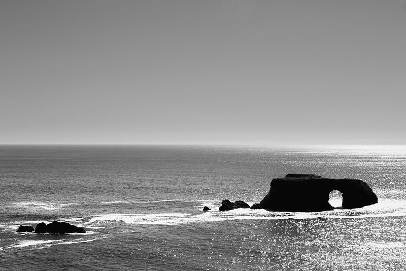 ARCH ROCK SONOMA COAST STATE PARK CALIFORNIA BLACK AND WHITE