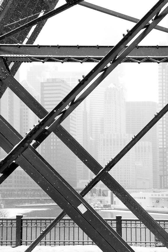 KINZIE BRIDGE WINTER DAY HEAVY SNOWFALL CHICAGO ILLINOIS BLACK AND WHITE