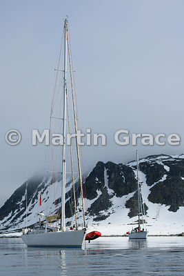 Two yachts at anchor in Holmiabukta, Spitsbergen, Svalbard