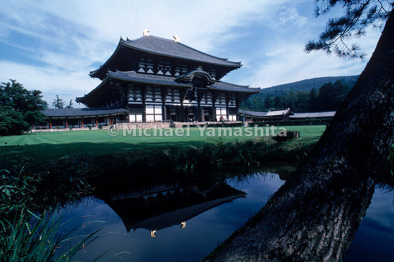 The austere elegance of the Daibutsu-den hall of the Todaiji in Nara, Japan, the world's largest wooden building and home to the Great Buddha.