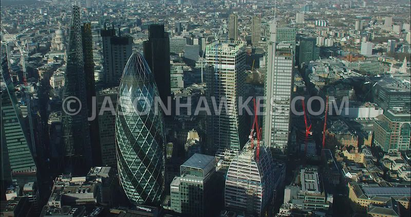 London Aerial footage, 30 St Mary's Axe towards 70 St Mary's Axe.