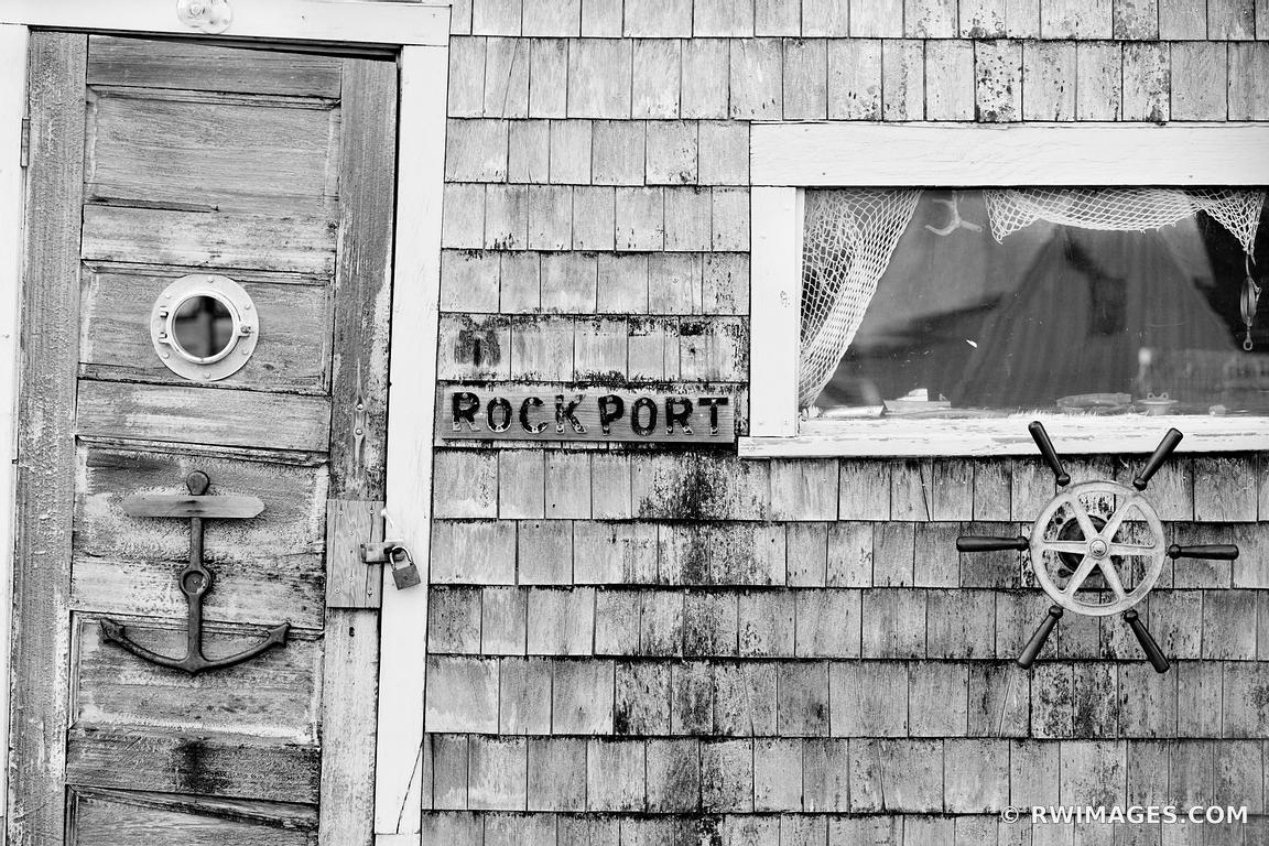 OLD DOOR ROCKPORT FISHING VILLAGE CAPE ANN MASSACHUSETTS BLACK AND WHITE