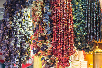 Strings of dried vegetables in the spice market, Istanbul