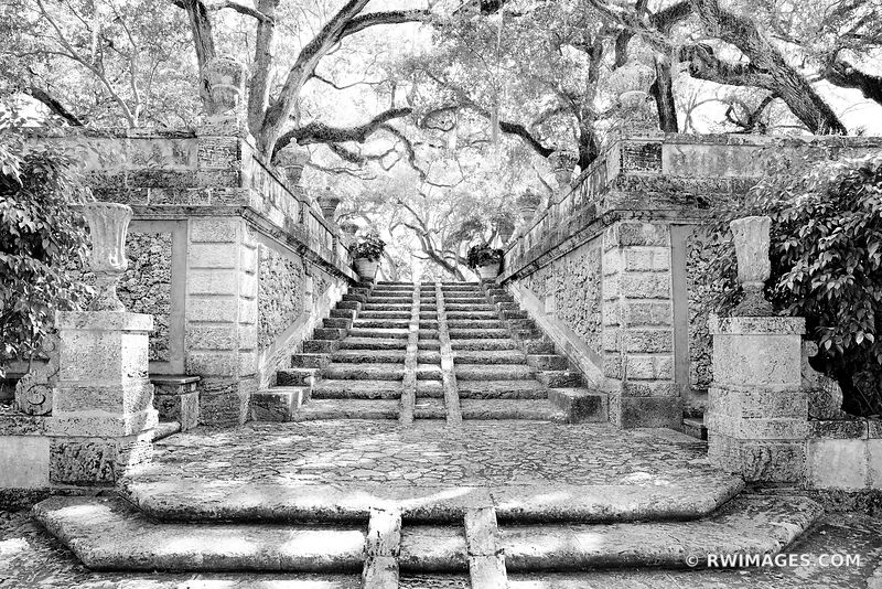 OLD GARDEN STONE STAIRS VILLA VIZCAYA MUSEUM AND GARDENS COCONUT GROVE MIAMI FLORIDA BLACK AND WHITE