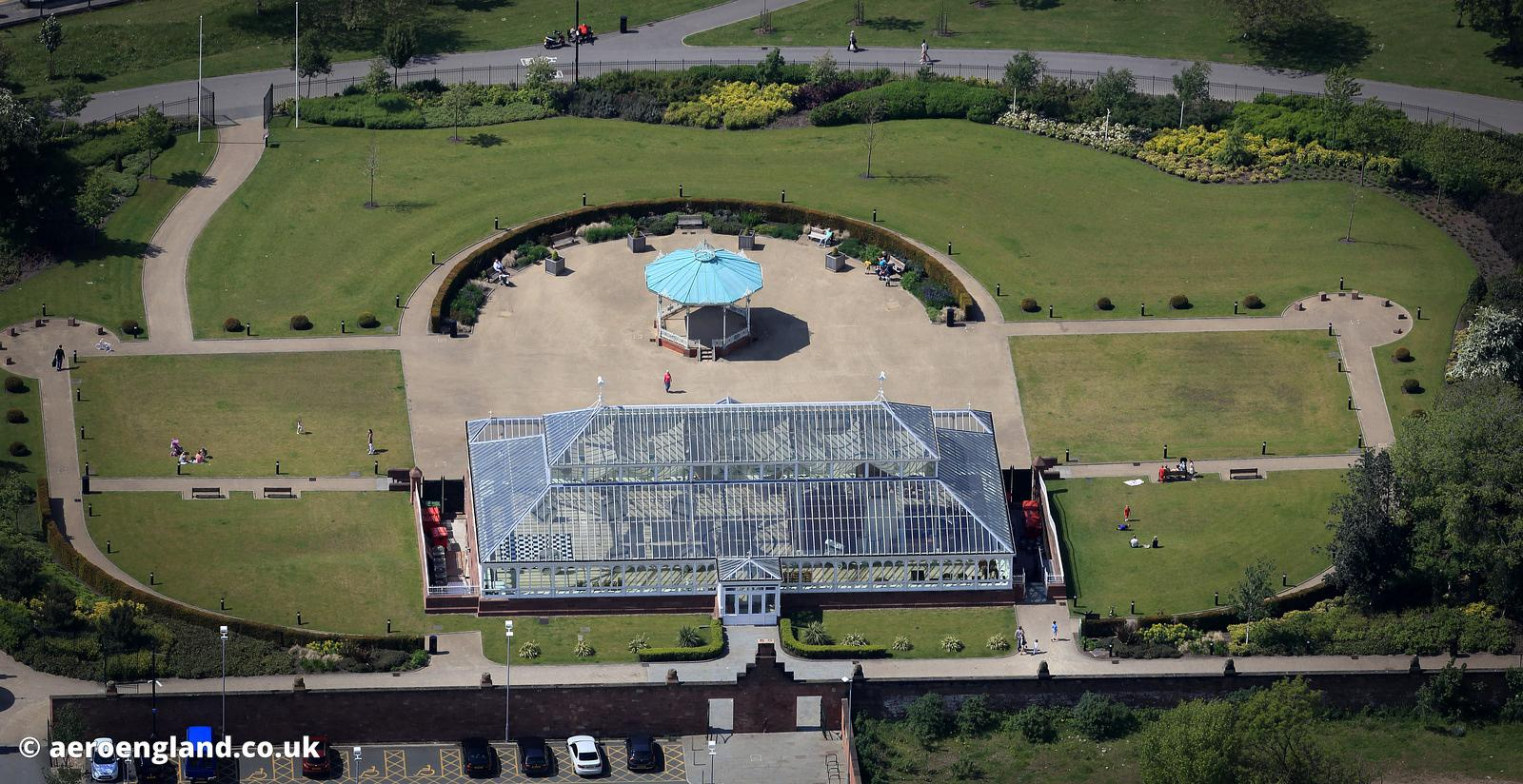 aerial photograph of the restored Gladstone Pavilion, Stanley Park, Liverpool  Merseyside England UK