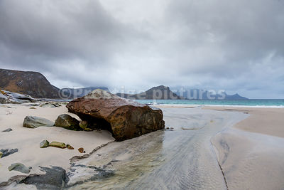 Haukland Beach with its boulders and bright sand