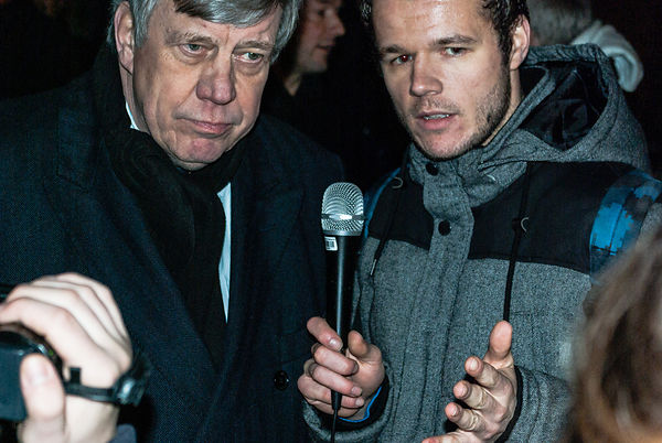 Amsterdam, Netherlands 2015-01-08: Mr. Opstelten, Dutch Minister of Security and Justice till march 2015, talking with journalists at the Freedom of Speech demonstration.