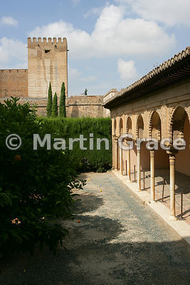 The enclosed Patio de Machuca (Machuca's Courtyard) outside the Hall of the Mexuar, looking towards the Torre del Homenaje, Nasrid Palaces, Alhambra