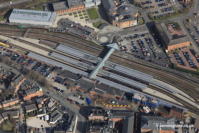 aerial photograph of  Derby Railway Station  Derbyshire England UK