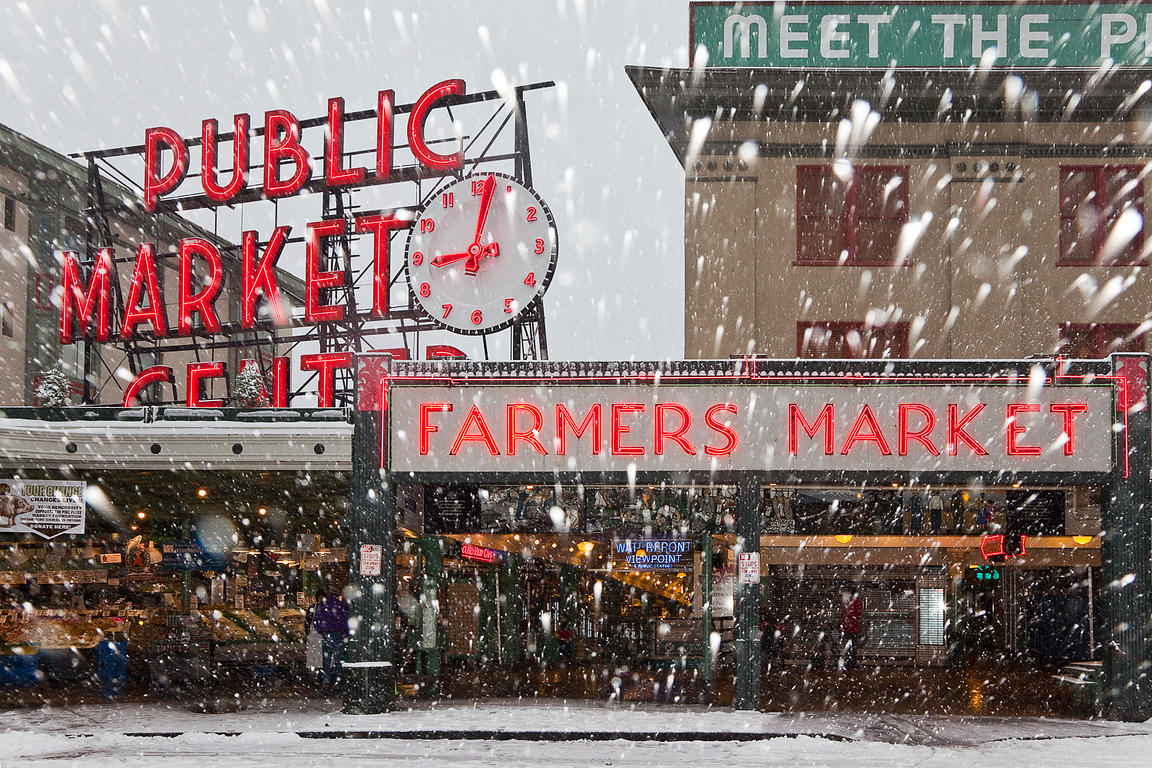 PIKE PLACE MARKET ON A WINTER MORNING