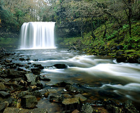 Sgwd Yr Eira waterfall, River Hepste, Ystradfellte, Brecon Beacons National Park, Powys, Wales.