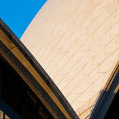 Detail shot of Sydney Opera House at dusk, Sydney, New South Wales, Australia