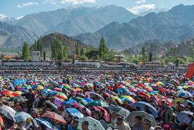 A crowd attends a festival at the Ladakhi Monastery
