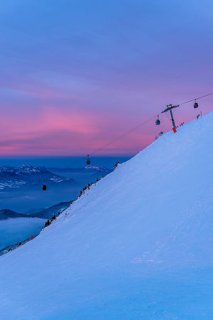 Sunset on ski resort