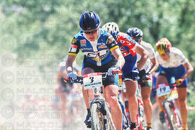 ALISON DUNLAP LEADS AT THE START OF THE WOMENS RACE GENERAL VIEW MADRID, SPAIN. DIESEL WORLD CUP 1999