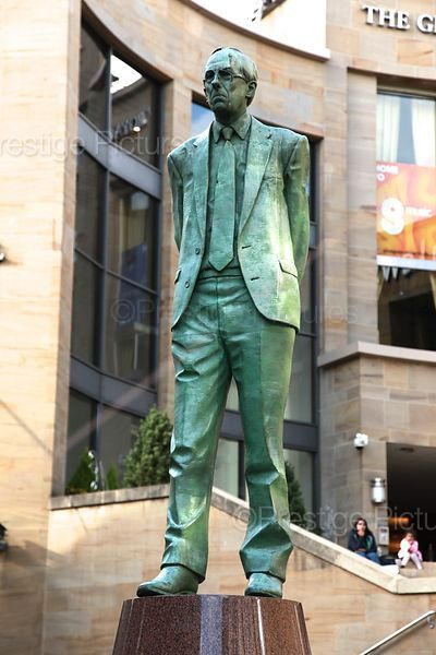 Statue of Donald Dewer in Buchanan Street Glasgow, Statue of Donald Dewer, First Minister of the new Scottish Parliament in 1999