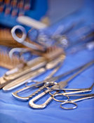 Surgical instruments in operating theatre