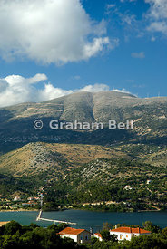 View across Argostoli and Argostoli from hill above Lassi, Kefalonia, Ionian Islands, Greece.