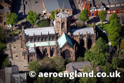 aerial photograph of  St Mary's medieval Church, Nantwich Cheshire England UK