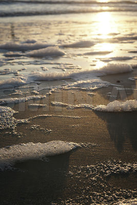 Seafoam in the evening light..Shallow DOF..Germany, North Sea Coast